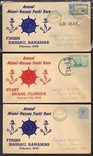 BAHAMAS US 1948 ANNUAL MIAMI-NASSAU YACHT RACE THREE COVER TWO NASSAU ZONE MIAMI