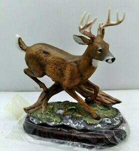 Homco Porcelain Running Stag Deer Buck Brown Hand painted Masterpiece Stand 1243