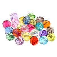 500 Mix Acryl Perlen Facettiert Rund Spacer Beads Mehrfarbig zum Basteln 6mm