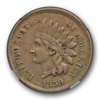 1859 Copper Nickel Indian Head Cent NGC XF 45 Extra Fine to AU US Type