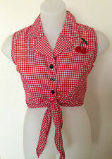 Rockabilly Pinup Sexy Sleeveless Tie Up Top Cherry detail Red & White  SIZE XL