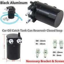T-6061 Aluminum Universal Cylinder Car Engine Oil Catch Reservoir Tank Can Black