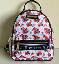 NEW! JUICY COUTURE VARSITY BLOOMS WHITE ROSE PRINTED BACKPACK BAG PURSE $89 SALE