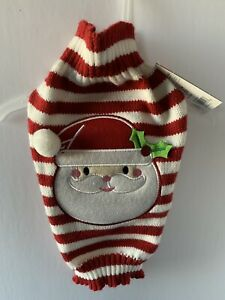 Dog Christmas Sweater Red And White Striped With Santa On Front