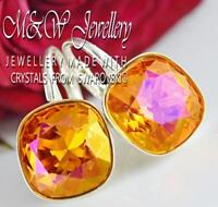 925 Silver Earrings Crystals From Swarovski® FANCY STONE 10mm - Astral Pink