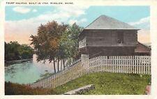 Winslow Maine~Picket Fence Around Fort Halifax (Built in 1754) ca 1920 Postcard