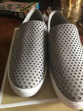 NEW MICHAEL KORS KEATON STAR Pearl Grey LOGO SNEAKER SLIP-ON SHOE  9,5 M   $125