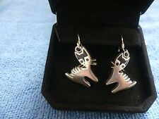 Sterling Silver Onyx Inlay Cat Earrings Earrings W/Gift Box