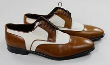 $895 Brioni Men's Brown Leather White Canvas Blake Derby Dress Shoes 9 UK 9.5 US