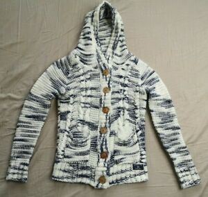 Diesel Women's White Blue Knit Hooded Cardigan Size M Medium Good Used Condition