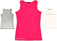 Girls Kids Summer Racer Back Plain Sleeveless Vest Top T-Shirt New 7-13 Years