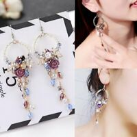 Fashion Crystal Pearl Flower Fringed Earrings Long Tassel Bead Ring Drop Dangle