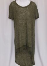 EYESHADOW Army Green Hi Low Short Sleeve Top (Size Large)
