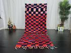 Moroccan Tribal Vintage Handmade Runner Rug 3'2x7'8 Checkered Red Blue Wool Rug