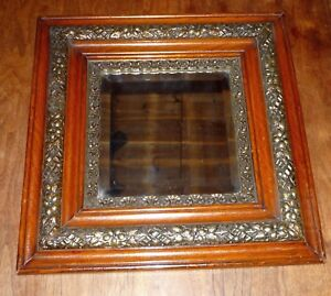 Antique Victorian Wall Mirror Carved Oak and Beveled Glass