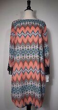 SPEECHLESS Geometric Dress Burnt Orange Blue Short Women's Size 13 NWT