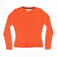 Vintage TOMMY HILFIGER Orange Cotton V-Neck Jumper Women's Size Medium
