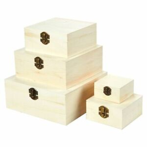 5 pcs Wooden Boxes Hinged-Lid Nesting Boxes, Unfinish Wood, Natural Wood, Small