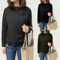 UK Women Long Sleeve Solid Witner Pullover Sweater Ladies Jumper Knitted Tops