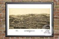 Vintage Cambridge, NY Map 1886 - Historic New York Art - Victorian Industrial