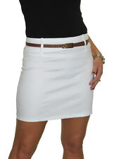 Womens Mini Skirt Stretch Sateen Bodycon With Belt 8-18 White 14