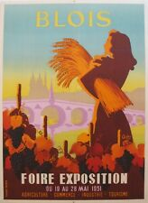 1950S VINTAGE FRENCH TRAVEL POSTER BLOIS EXPOSITION GREAT GIFT FOR A FRANCOPHILE
