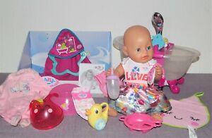 Baby Born Mädchen v. Zapf, 43 cm, Badewanne, schöne Kleidung  + Zubehör
