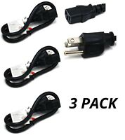 3x Pack 2ft 3-Conductor 14AWG NEMA 5-15P to IEC320 C13 PC Power Cord Cable