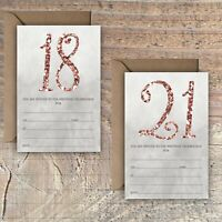 BIRTHDAY INVITATIONS BLANK ROSE GOLD MARBLE GLITTER EFFECT 18TH 21st PACKS OF 10