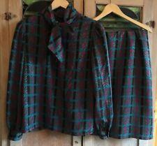 Vtg 80s 2 Pc Blouse + Skirt Set Sasson Pussy Bow Gorgeous Retro Sz 10/11