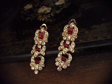 Vintage Baguette Ruby Red Crystal Long Drop Clip-On Earrings. 22ct Gold Plated