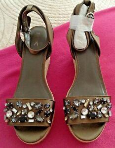 NEXT Khaki Satin Jewel Embellished Toe Strap Espadrille Wedge Sandals UK 8 BNWOB