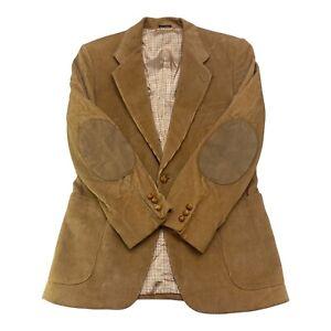 VTG Mens 38 S Corduroy Sportcoat Jacket Coat Blazer Suit Brown Suded Leather Elb