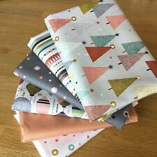 MODERN METALLIC CHRISTMAS Fat Quarter Bundle E Makower Fabrics Grey Pink Trees