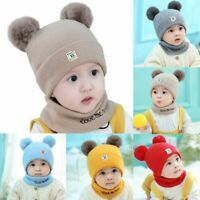 Newborn Baby Boy Girl Fur Pom Hat Winter Warm Crochet Knit Bobble Beanie Cap FF