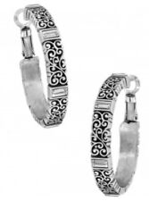 Brighton NWT Silver BARONESS clear Swarovski Crystal HOOP Lace & Scroll EARRINGS
