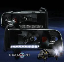1994-2001 DODGE RAM LED STRIP BLACK CRYSTAL HEAD LIGHT W/8000K HID CORNER SIGNAL