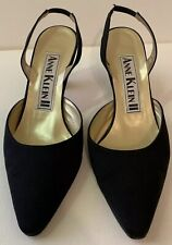 Anne Klein Sz 8.5 M Slingback Heels Black Fabric Pointy Toe Leather Soles Straps