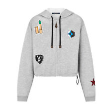 LOUIS VUITTON cotton jersey hoodie sweatshirt embroidered patches Large