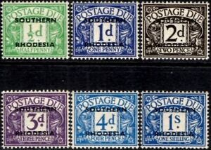 Southern Rhodesia 1951 Postage Dues  Mint Hinged SG.D1/D7 exc 4d Dull Grey-Green