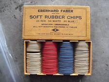 RARE Vintage Eberhard Faber Rubber Poker Chip Set in Box