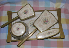 VINTAGE PETIT POINT EMBROIDERED DRESSING TABLE SET 5 PIECES