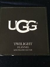 UGG Twilight Flannel KING Pillowcases NAVY (Set of 2) NIP BRAND NEW DEEP BLUE