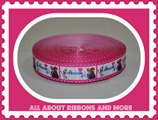"""7/8"""" Frozen Anna And Elsa With Pink Heart Trim Grosgrain Ribbon- 1 Yard"""