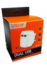 New 2.1A Amp Fast Dual Twin 2 Port USB Charger Uk Mains Wall Plug Adapter 3 Pin