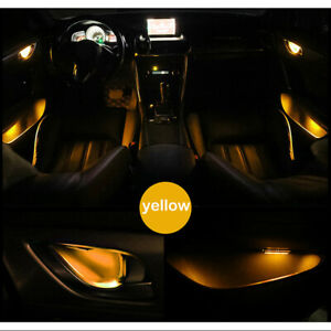 Yellow Car Door Bowl Handle LED Ambient Atmosphere Light Interior Universal