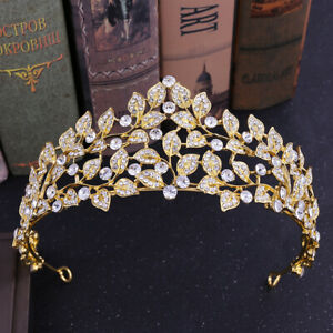 6.7cm High Crystal Leaves Tiara Crown Wedding Bridal Party Pageant Prom 2 Colour