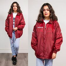 RETRO UNISEX WINDBREAKER RAIN COAT CAGOULE MAROON RED HOODED ZIP SPORTS 14