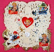 Unused Antique Vtg Whitney Victorian Paper Lace Valentine Card Embossed Die Cut