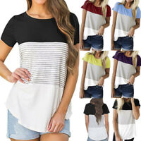 Summer Women Ladies Short Sleeve Stripe T Shirt Casual Cotton Blouse Tops Casual